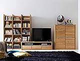 Wohnwand Pisa 21 Eiche Bianco massiv Lowboard Regal Schrank Medienwand TV-Wand TV-Möbel, Ausführung:Regal Links