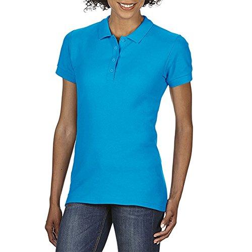 Gildan Softstyle Damen Kurzarm Doppel Pique Polo Shirt (M) (Saphir) (Doppel-polo)