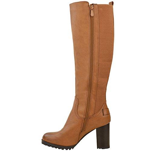 Femmes Genou Talon Bloc Épais Bottes Équitation Extensible Buckle Chaussures Pointure Simili cuir fauve