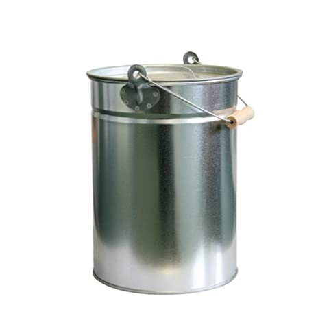 KaminoFlam 14 Litre Ash Bucket - Silver Ash Can For Open Fire - Metal Trash Can With Lid - Soot Bucket for Carbon Waste - Fireplace Decoking