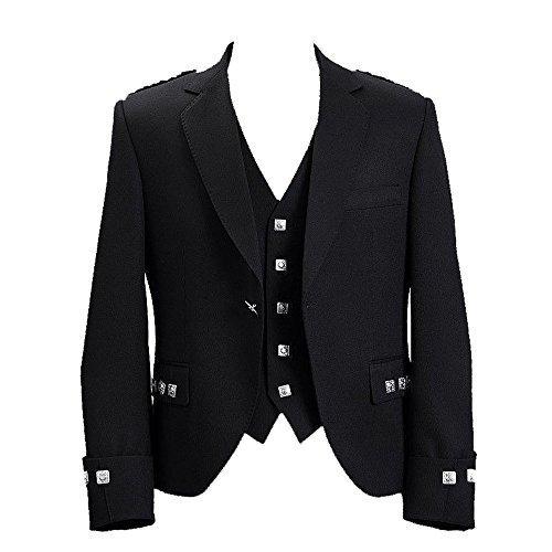 Star Leather Hochzeit/Party Jungen & Herren Schottisch Argyle Kilt Jacke & Weste (alle Größen S R L) - Schwarz, 46 Long (Star Leather)