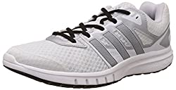 adidas Mens Galaxy 2 Wide M White, Black and Silver Mesh Running Shoes - 8 UK