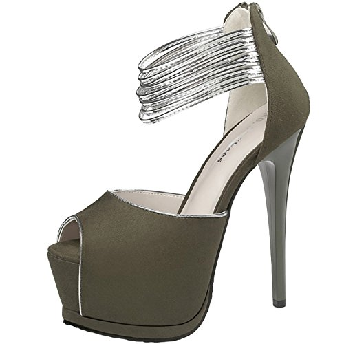 Oasap Women's Peep Toe Platform High Heels Ankle Strap Pumps green