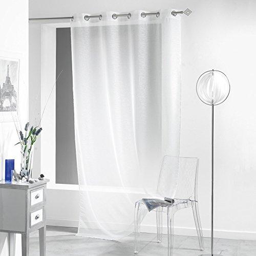 Douceur d'intérieur, tenda con occhielli lissea, in poliestere/velo sabbia, bianco, 140 x 260 x 260 cm