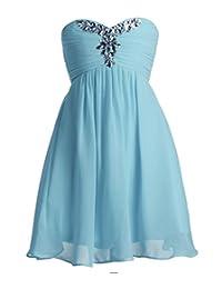 Fashion Plaza Chiffon Mädchen Kleid Schulterfrei A-line Blumenmädchenkleid K0091