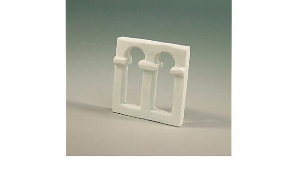 Fensterbogen wei/ß aus Polyresin Orientalische Krippenbau 3,3x3x0,5cm.