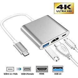 XMXWEI Adaptateur USB C vers HDMI 4K, Hub Type C vers HDMI, Adaptateur HDMI Convertisseur + Port USB 3.0 + Port de Charge C USB Compatible avec MacBook iMac Galaxy S8/S9 Note 8/ChromeBook