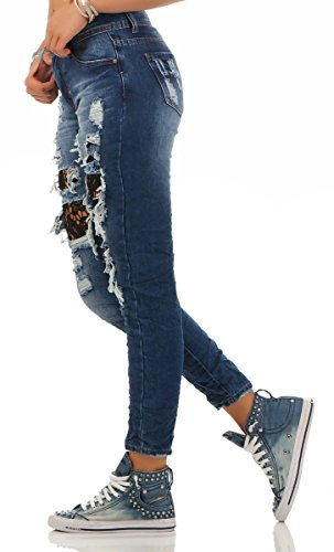 5796 Fashion4Young Damen Röhrenjeans Hose Stretch-Denim Skinny Jeans Cut-outs Spitze Blau
