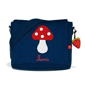 Kindergartentasche & Kindergartenrucksack in einem: Glückspilz für Mädchen (mit Namen) in blau