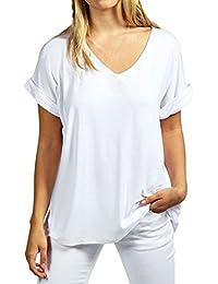 ZANZEA Damen V-Ausschnitte Kurz Ärmel Lose Langshirt T-Shirt Tops Bluse 05a1b8a89d