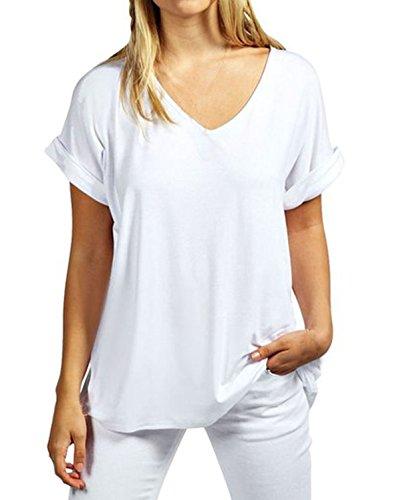 ZANZEA Damen V-Ausschnitte Kurz Fledermausärmel Lose T-Shirt Tops Bluse Weiß EU 48/Etikettgröße 2XL (Damen Blusen V-neck-baumwolle)