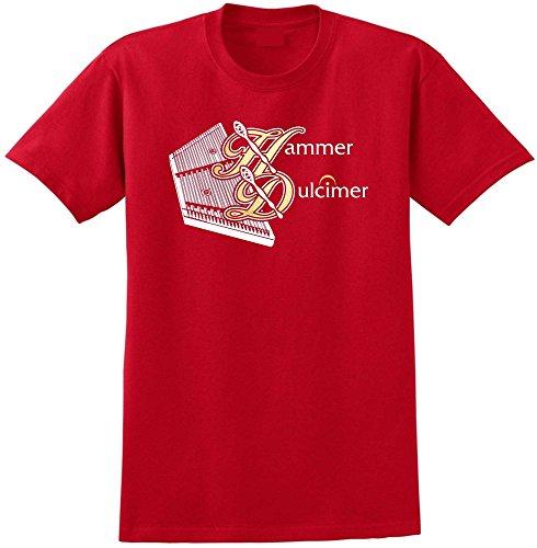 MusicaliTee Dulcimer Hammered Hammer - Red Rot T Shirt Größe 87cm 36in Small