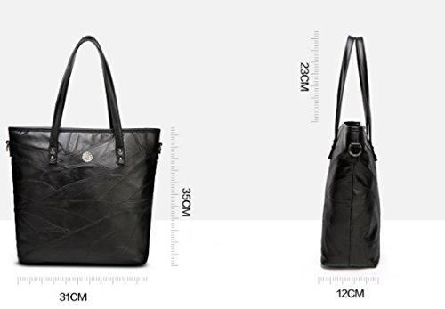 PDFGO Handtaschen Mode Schaffell Spliced Tasche Leder Tasche Schultertasche Handtasche PU Tasche Tote Bag A