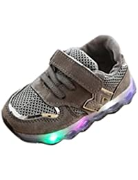 Dinglong Children LED Light up Luminous Sneakers - Toddler Kids Hook   Loop  Mesh Sport Anti Slip Trainers Baby Shoes… 30acb78cd