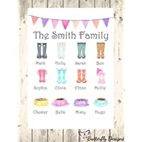Personalised Watercolour Family Wellington Boots A4 PRINT Picture Design P1