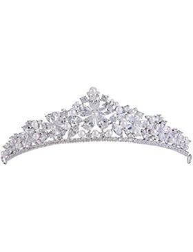 EVER FAITH® Silber-Ton Cubic Zirkonia weiß künstliche Perle Wasser Form Blume Haarband Diadem klar N07911-1
