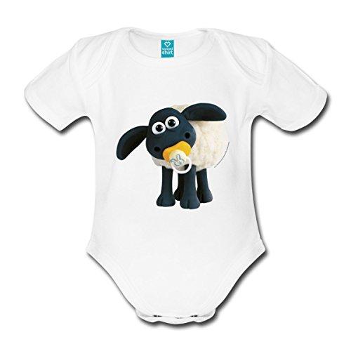 Spreadshirt Timmy Shaun das Schaf Baby Bio-Kurzarm-Body, 56 (0-1 M.), Weiß