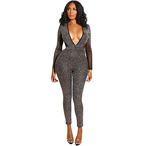 Sijux Frauen Schwarz Sexy Tiefem V-Ausschnitt Backless Overalls Für Weibliche Hohe Taille Langarm Verband Strampler Catsuit Party Clubwear,Black,S