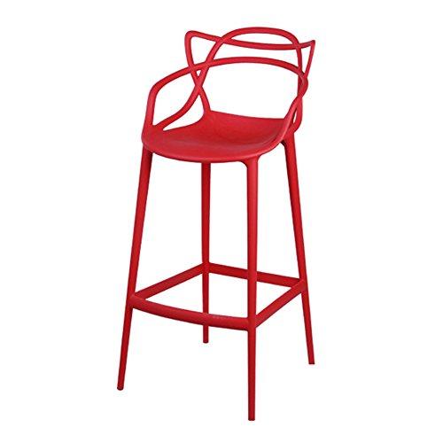 WXFO Barstuhl Barhocker, Bar Kreative Kunststoff Verdickung High hocker Drehen Cafe Zähler Hohe zurück Woody Kreative Hohe Rezeption Küchenstuhl Europäischen Höhe 65 cm (Color : Red) -