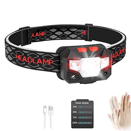 USB Wiederaufladbare LED Stirnlampe Kopflampe mit Energieanzeige Wasserdichte Mini Stirnlampe Kinder Perfekt für Joggen, Laufen, Gehen, Campen, Lesen, Angeln und andere Outdoor-Sportarten