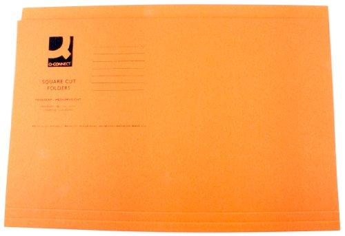 Q-Connect Square Cut Folder Medium Weight Foolscap KF01188, 250 g - Orange, Pack of 100
