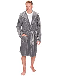 Big & Tall Men's Fleece Hooded Robe - Winter Dressing Gown - Sizes 3XL-5XL
