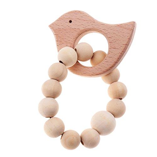Baoblaze Baby Teether Holz Armband Holzperlen Beißringe Säugling Rassel Spielzeug Zahnen Baby-Holz-Spielzeug Baby Dusche Geschenk - Krone