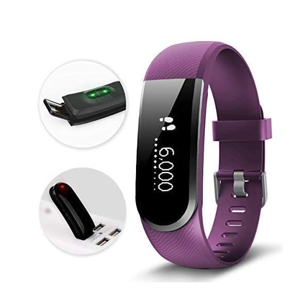 CHEREEKI Pulsera Actividad [versión Mejorada] con Control de frecuencia cardíaca podómetro Monitor, Smartwatch Pulsera… 3