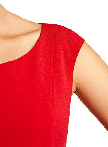 oodji Ultra Femme Robe Encolure Ovale en Tissu Dense Rouge (4500N)