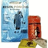 1 x Notfall Regenponcho Regen Poncho Ponchos Kapuze Regenjacke Festival Konzerte Fussball Camping , Fb.:rot