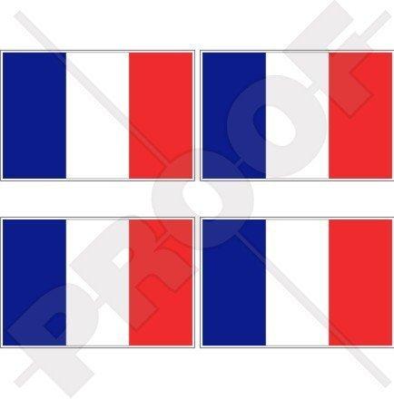 FRANKREICH Französische Flagge Française 50mm Auto & Motorrad Aufkleber, x4 Vinyl Stickers -
