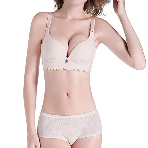 PYZY Dünne Tasse atmungsaktiv Einteilige Nahtlose Unterwäsche atmungsaktiv große BH Mädchen ohne Stahlring BH Farbe der Haut 36/80B