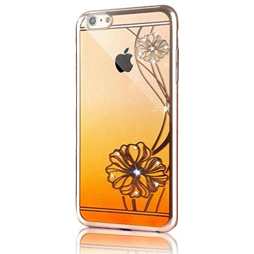 iPhone 6s Plus Hülle, iPhone 6 Plus Hülle, Vandot Ultra Thin TPU Silikon Schutzhülle für iPhone 6s Plus / 6 Plus Case Cover Plating Glänzend Transparent Luxus Diamant Rhinestone Bling Muster Pattern T Color 6