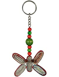 Paper Wings Eco Friendly Off-White And Green Keyring