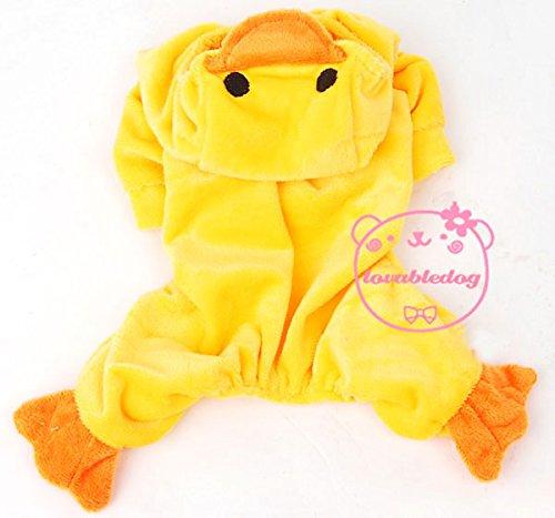 Kostüm Ente, für kleine Hunde und Katzen, Samt, erhältlich in den Größen XS, S, M, L, - Adult Ente Kostüm