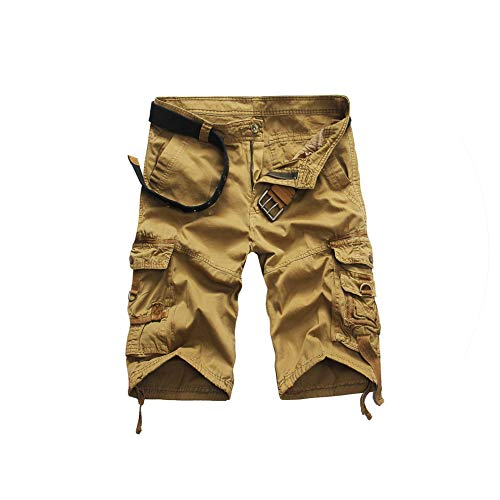 Men's Summer Camouflage Fashion Tooling Shorts Men's Casual Loose Cotton Knee Length Shorts Size 28 38,Khaki,34 -