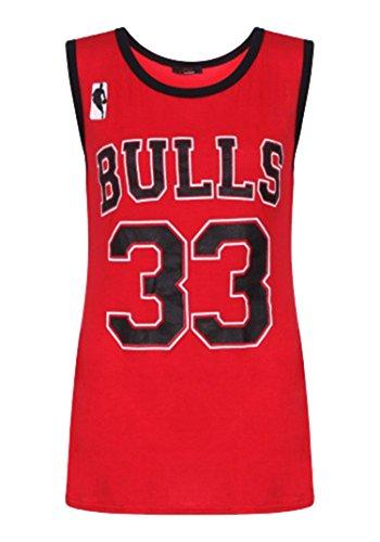 Fashion Essential--Womens Bulls 33 Basketball-Stil Chicago American Weste Top (ML, RED)