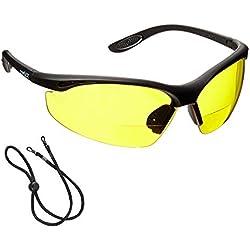voltX 'CONSTRUCTOR' (AMARILLO dioptría +1.5) Gafas de Seguridad de Lectura BIFOCALES que cumplen con la certificación CE EN166F / Gafas para Ciclismo incluye cuerda de seguridad - Reading Safety Glasses