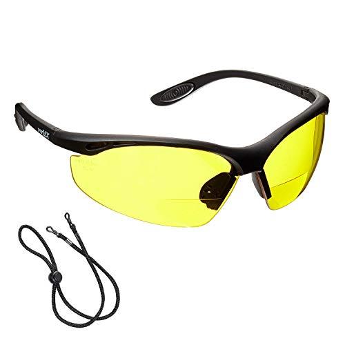 voltX \'Constructor\' BIFOKALE Schutzbrille mit Lesehilfe (GELB +1.5 Dioptrie) CE EN166F Zertifiziert/Sportbrille für Radler enthält Sicherheitsband + Anti Fog UV400 Linse - Bifocal Safety Glasses
