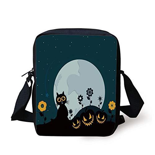 Halloween Decorations,Cute Cat Moon on Floral Field with Starry Night Sky Star Cartoon Art,Blue Black Print Kids Crossbody Messenger Bag Purse