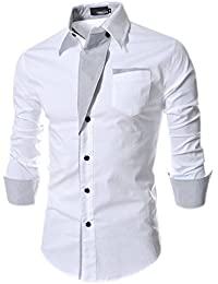 Fuxiang Camisas Hombre Slim Fit Shirt Manga Larga Básica Moda Camisa Casual Cuello Formales Vestir Shirts Blusa Tops Camiseta DtZtHrd