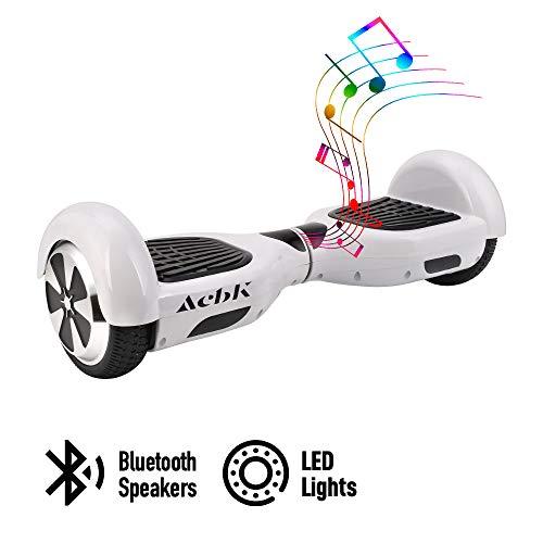 ACBK - Scooter Elettrico Hover Autobilanciato con Ruote da 6.5\'\' (Bluetooth + Luci a LED) velocità Massima: 10-12 km/h - Autonomia 10-20 km (Bianco)