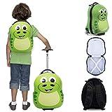 Kompakte 2-tlg Kindergepäck, Reisekoffer und Kinderrucksack, Für Urlaub Handgepäck & Rucksack - Kinder Trolley Grün Dino