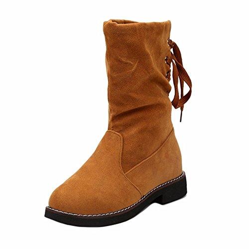 HOMEE Women 'S Stiefel Quasten in der Mitte des Barrel Lace Verdickung warme Schuhe im Winter,39 Eu,Gelb (Gelb Schuhe Mitte)