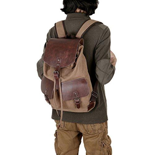 Super moderno vintage tela zaino moda Student zaino laptop bag Bookbag scuola borsa a tracolla in pelle per escursionismo, donna Uomo, Green Coffee