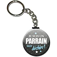 Je suis un PARRAIN qui déchire Porte clés chaînette 38mm ( Idée Cadeau Baptême Communion Noël )