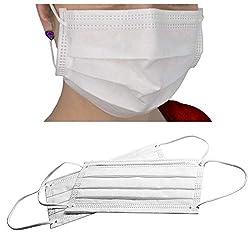 50x Weiße Mundschutz 3-lagig 99% mit Nasenbügel, latexfrei, Einweg OP Vlies Maske mit Elastikband, anwendbar für Erwachsene & Kinder gegen Schmierinfektionen, Viren & Bakterien