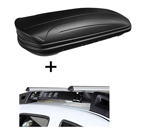 Dachbox VDPMAA320 320Ltr abschließbar schwarz matt + Alu Relingträger Aurilis Original für Dacia Duster mit Reling 5 Türer 2014-2017