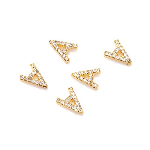 5Pcs Kit Décoration Nail Art Alphabet de A 3D Manucure Incrusté de Cristal Bijoux DIY Ongle Or RAIN QUEEN