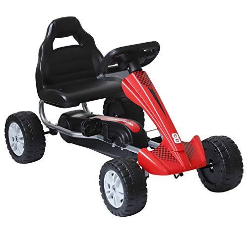 HOMCOM Go-Kart für Kinder Tretfahrzeug Tretauto Kinderfahrzeug mit Pedalen 4 Räder Metall + Kunststoff Rot 3-8 Jahre